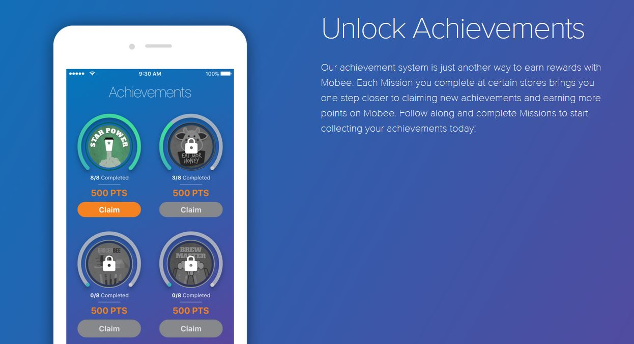 mobee app review - achievements