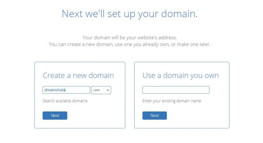 domain setup page